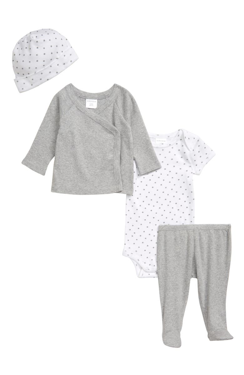 NORDSTROM BABY Take Me Home Wrap Top, Bodysuit, Footed Leggings & Hat Set, Main, color, GREY ASH HEATHER
