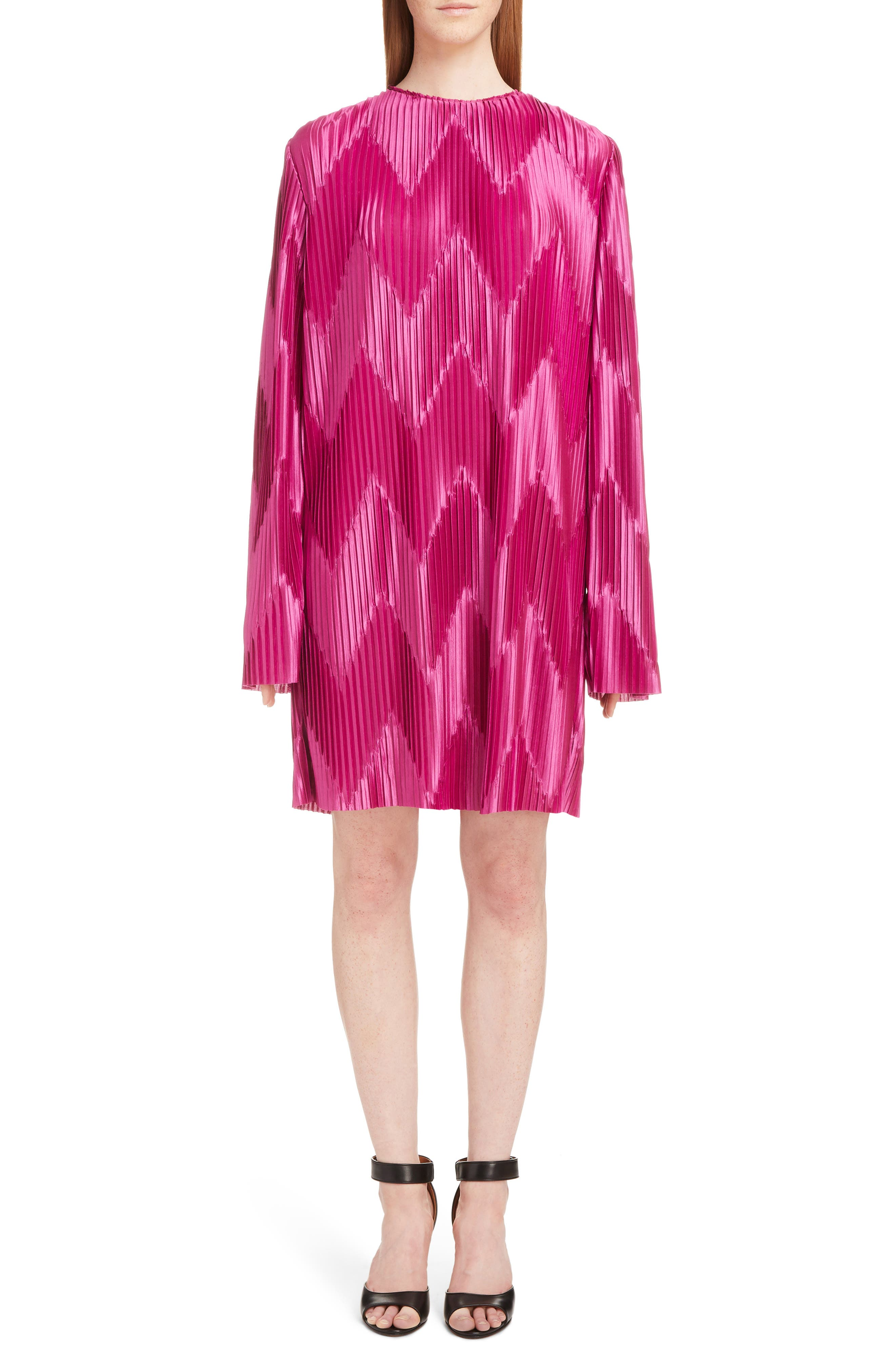 Givenchy Zigzag Pleated Jersey Dress, 8 FR - Pink