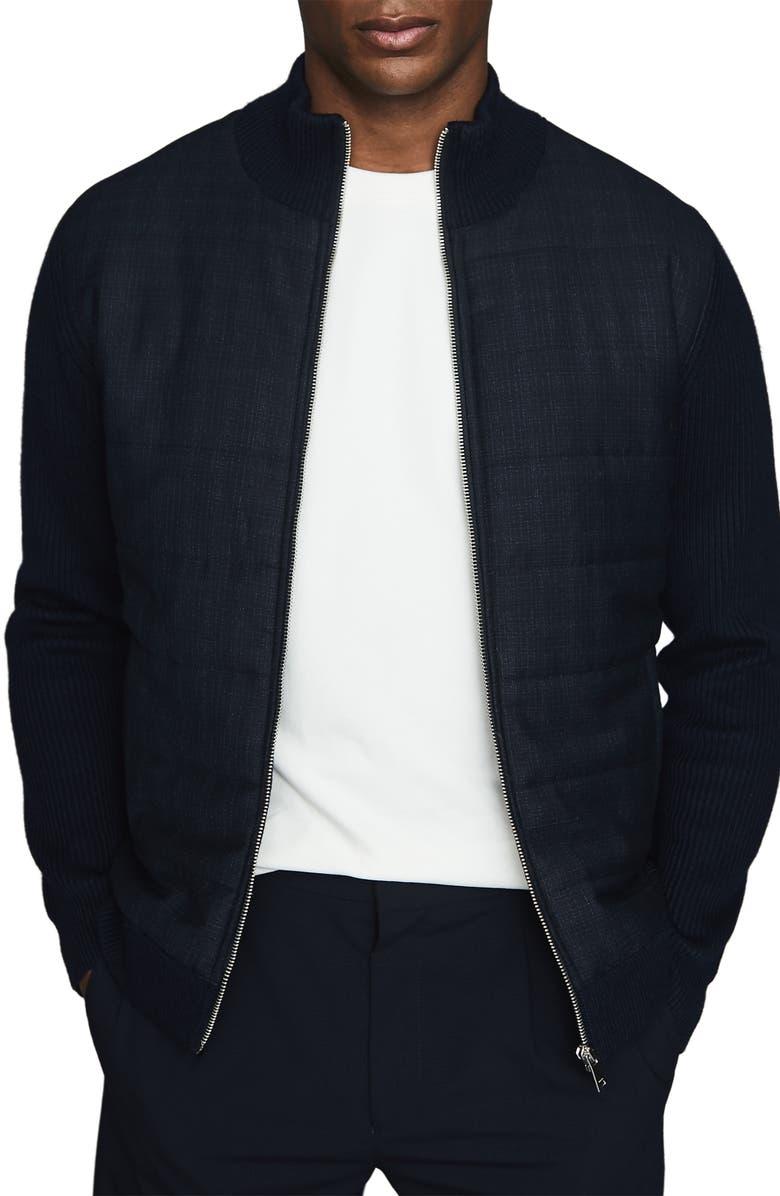 REISS Amigo Quilt Front Zip Cardigan, Main, color, 410