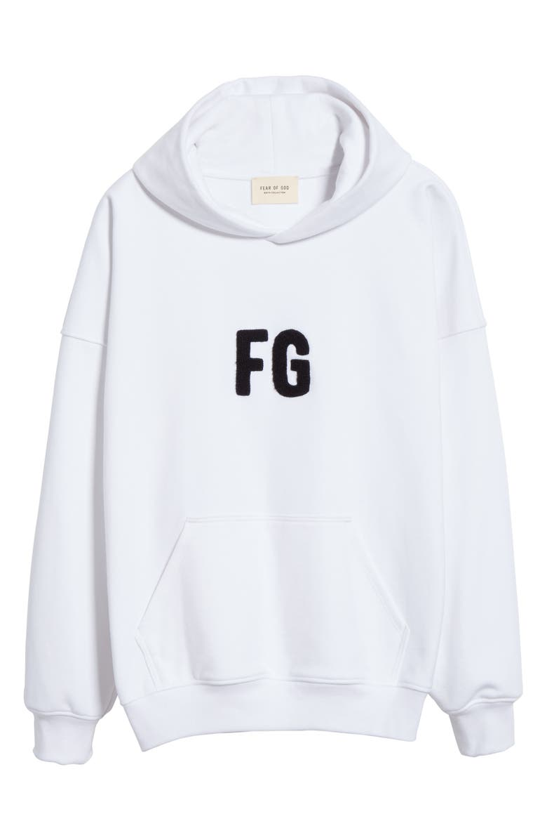 FEAR OF GOD Everyday Hooded Sweatshirt, Main, color, WHITE/ BLACK