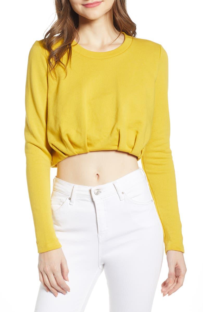 NOISY MAY Ecem Crop Sweatshirt, Main, color, LEMON CURRY