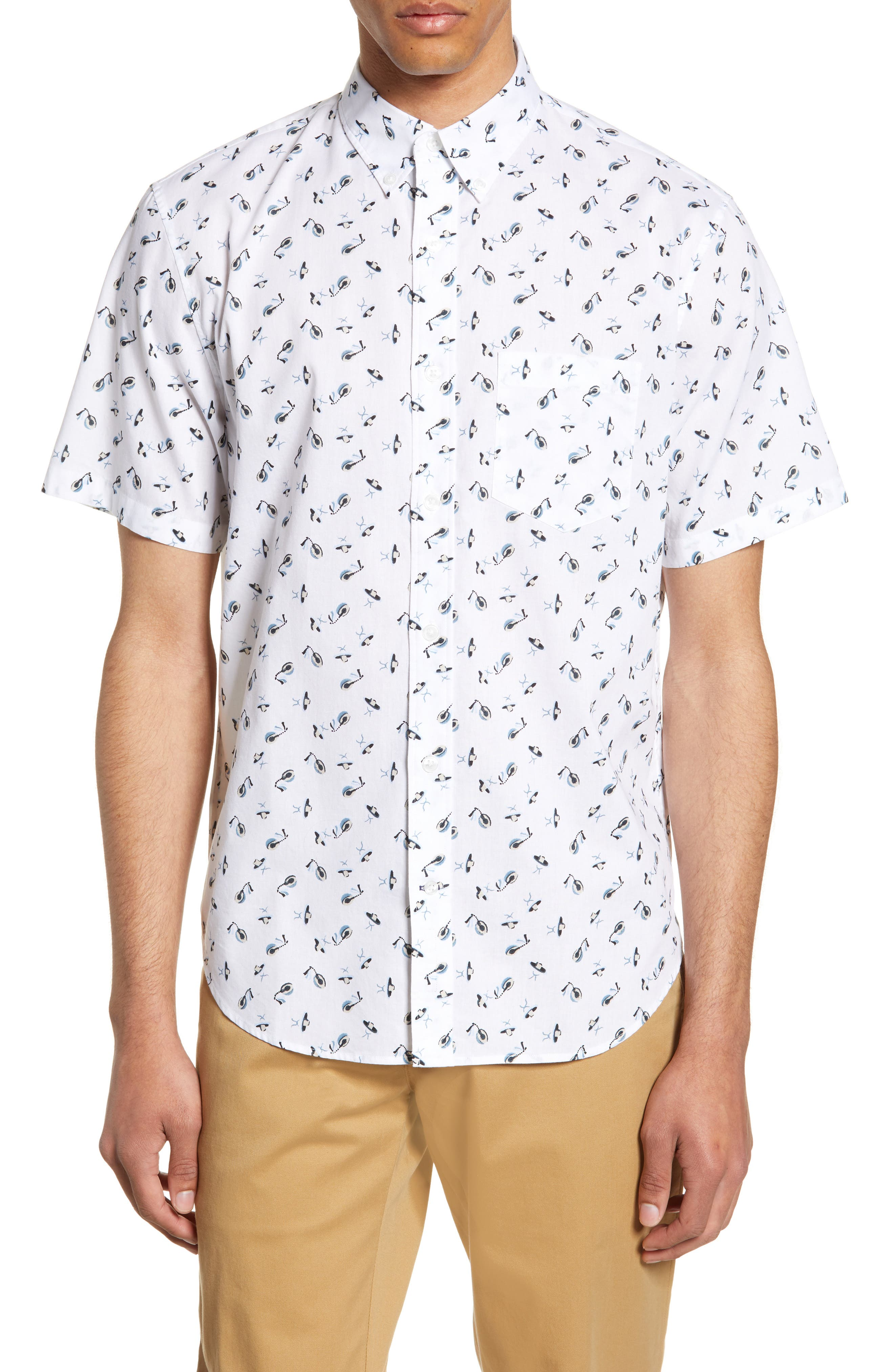 Slim Fit Sombrero Print Sport Shirt, Main, color, WHITE MULTI