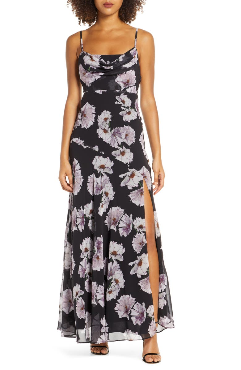 FAME AND PARTNERS Maya Evening Dress, Main, color, POPPY BLACK