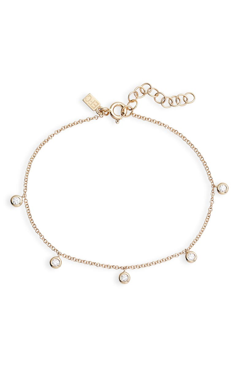 EF COLLECTION Bezel Diamond Chain Bracelet, Main, color, YELLOW GOLD/ DIAMOND