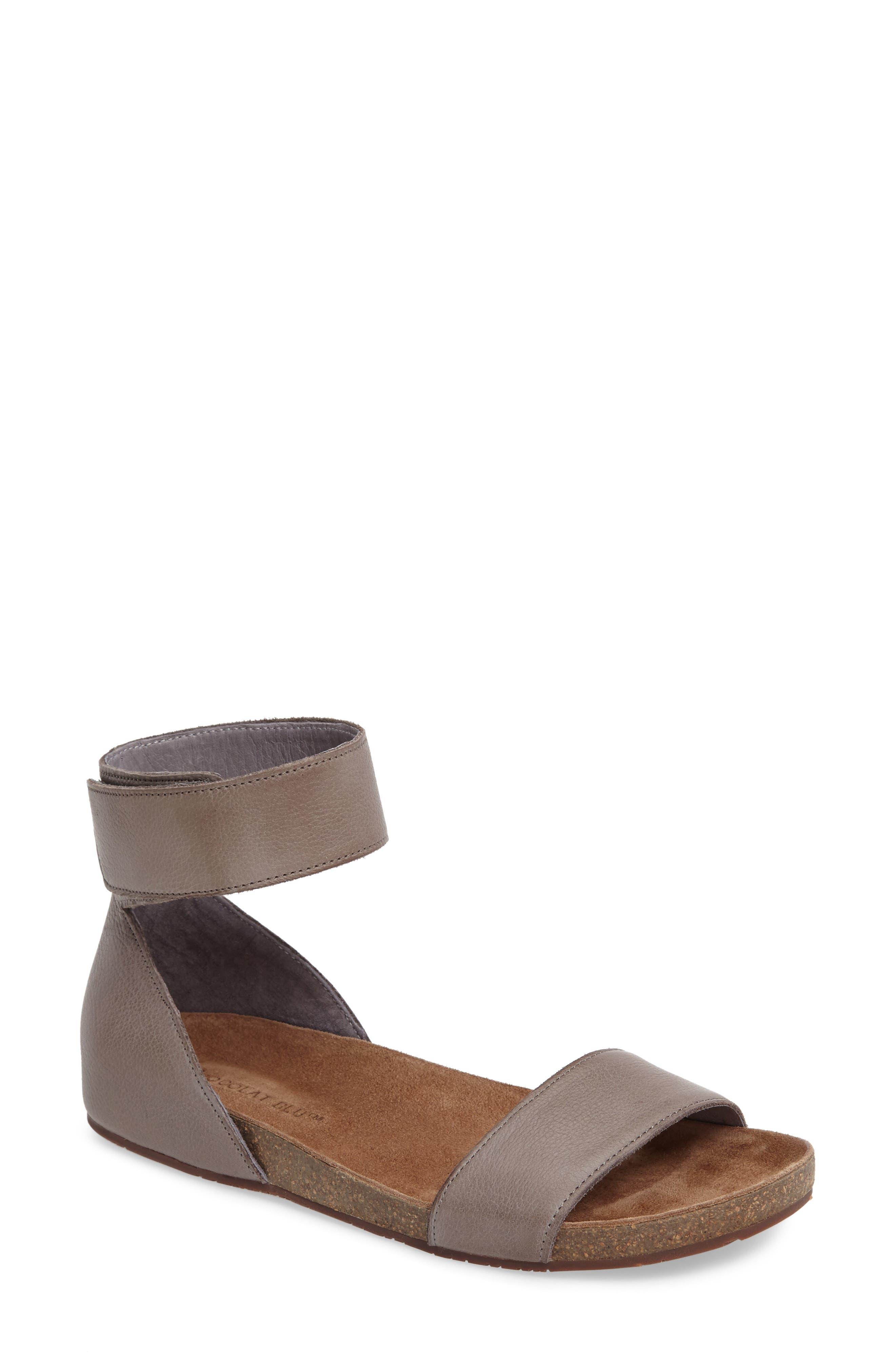 Chocolat Blu York Ankle Strap Sandal, Grey