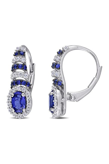 Image of Delmar Sterling Silver Created Blue Sapphire & Created White Sapphire Halo Drop Earrings