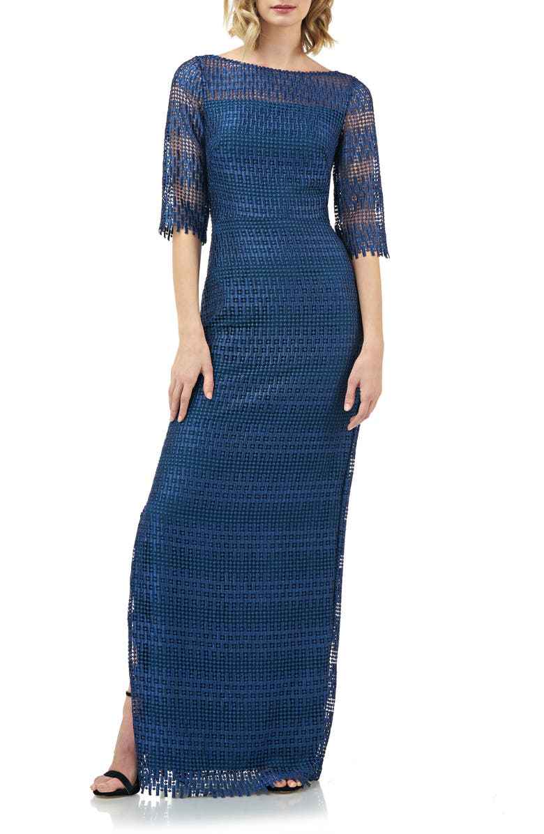 KAY UNGER Illusion Neck Lace Evening Gown, Main, color, SAPPHIRE/ PEACOCK