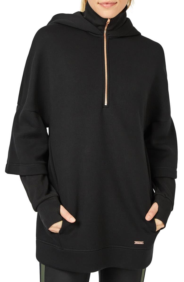 SWEATY BETTY Double Sleeve Half Zip Hoodie, Main, color, 001