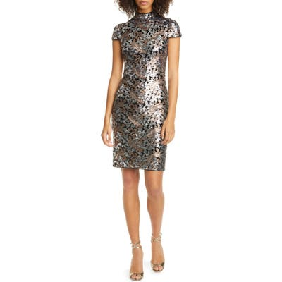Alice + Olivia Inka Sequin Swirl Dress, Metallic