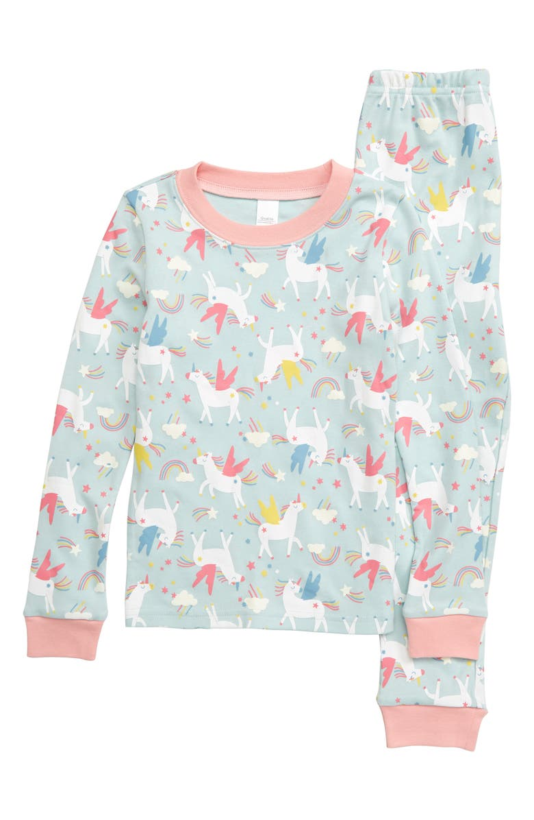 TUCKER + TATE Glow in the Dark Fitted Two-Piece Pajamas, Main, color, BLUE PASTEL UNICORN MAGIC