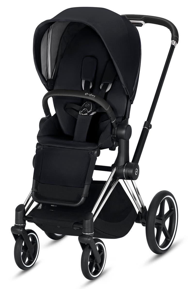 CYBEX e-Priam Chrome Electronic Stroller with All Terrain Wheels, Main, color, PREMIUM BLACK