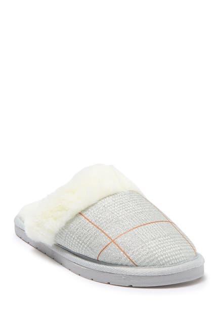 Image of Kensie Glitter Plaid Faux Fur Slipper