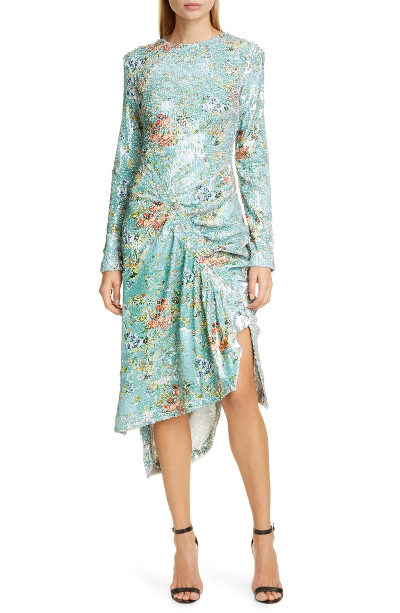 PREEN BY THORNTON BREGAZZI Daisy Long Sleeve Sequin Cocktail Dress, Main, color, TAPESTRY