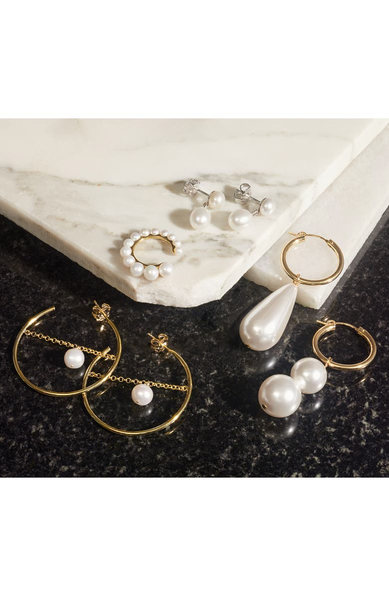 BECK JEWELS Arcilla Mismatched Swarovski Imitation Pearl Hoop Earrings, Main, color, WHITE PEARL