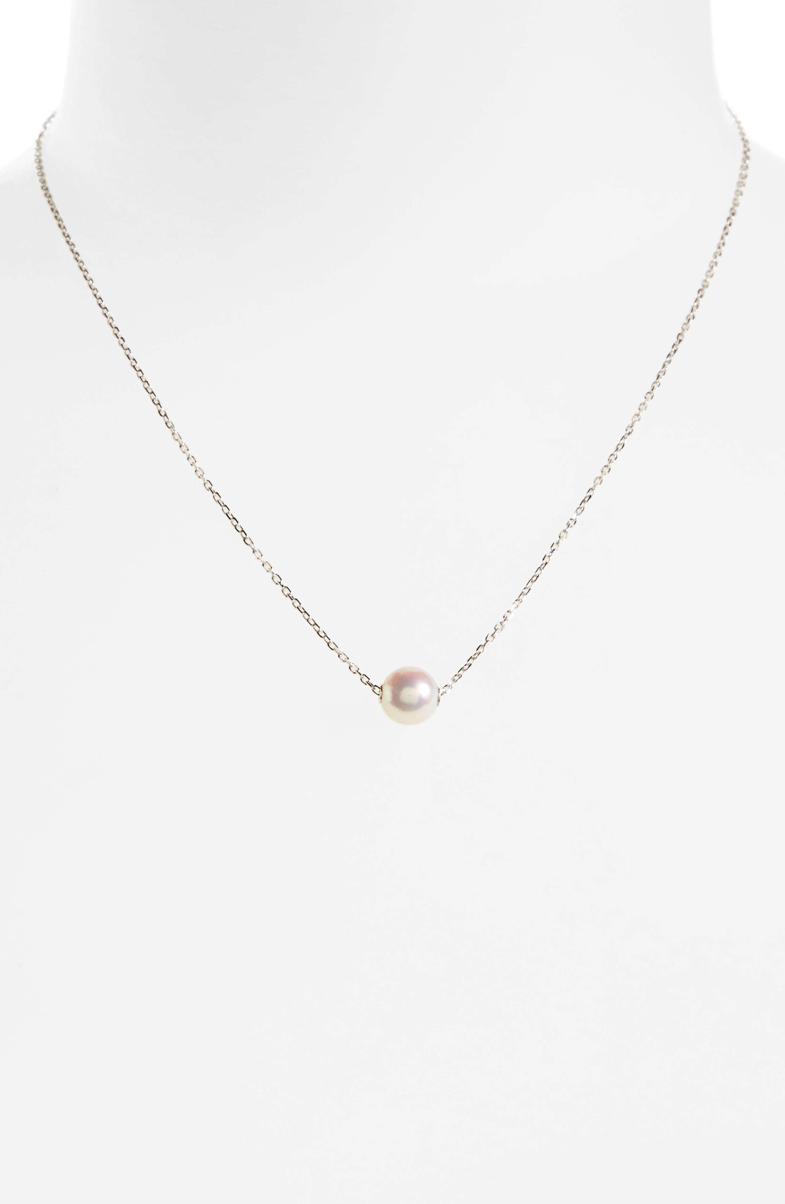 ,                             Single Pearl Pendant Necklace,                             Main thumbnail 1, color,                             WHITE GOLD