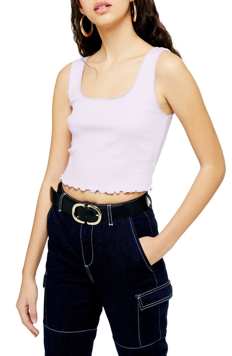 TOPSHOP Picot Trim Cropped Tank Top, Main, color, 530