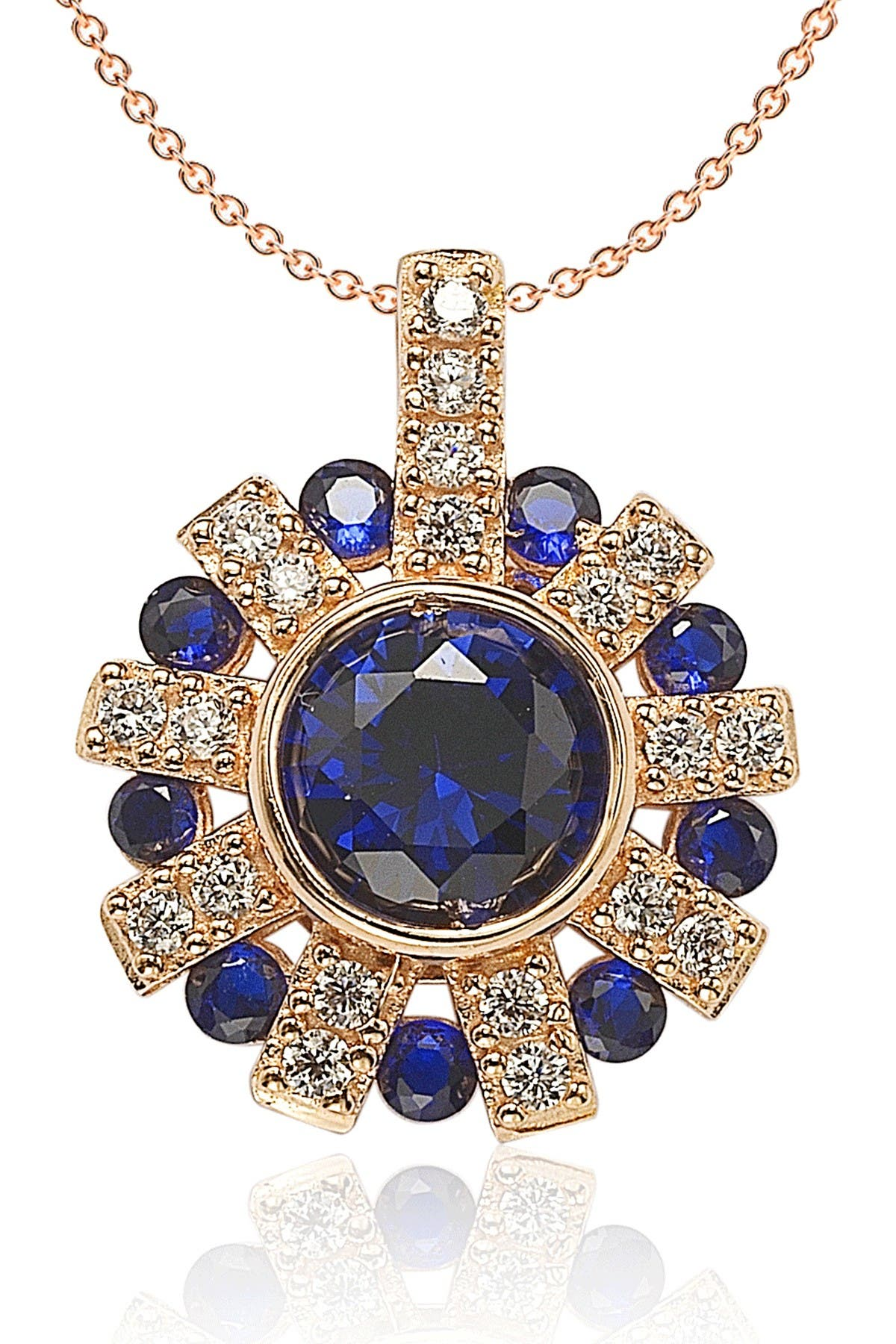 Image of Suzy Levian Rose Gold Plated Sterling Silver Sapphire and Diamond Accent Starburst Pendant Necklace