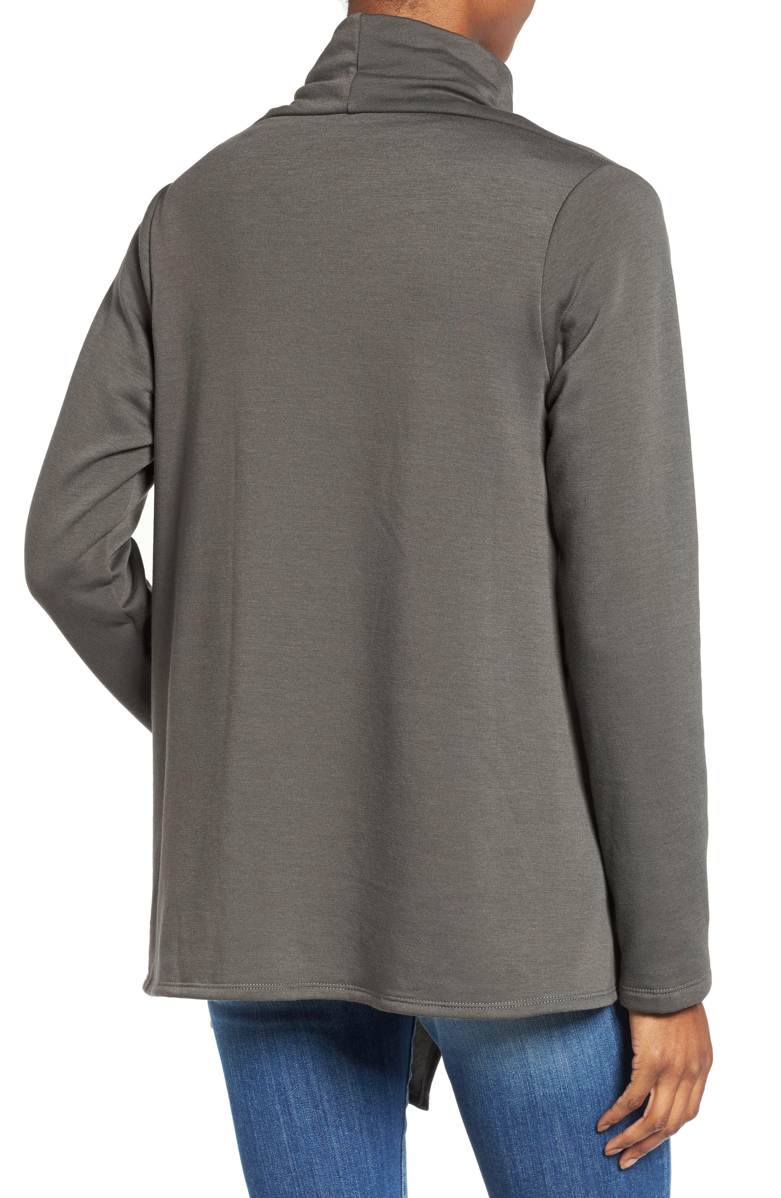 ,                             One-Button Fleece Wrap Cardigan,                             Alternate thumbnail 84, color,                             333