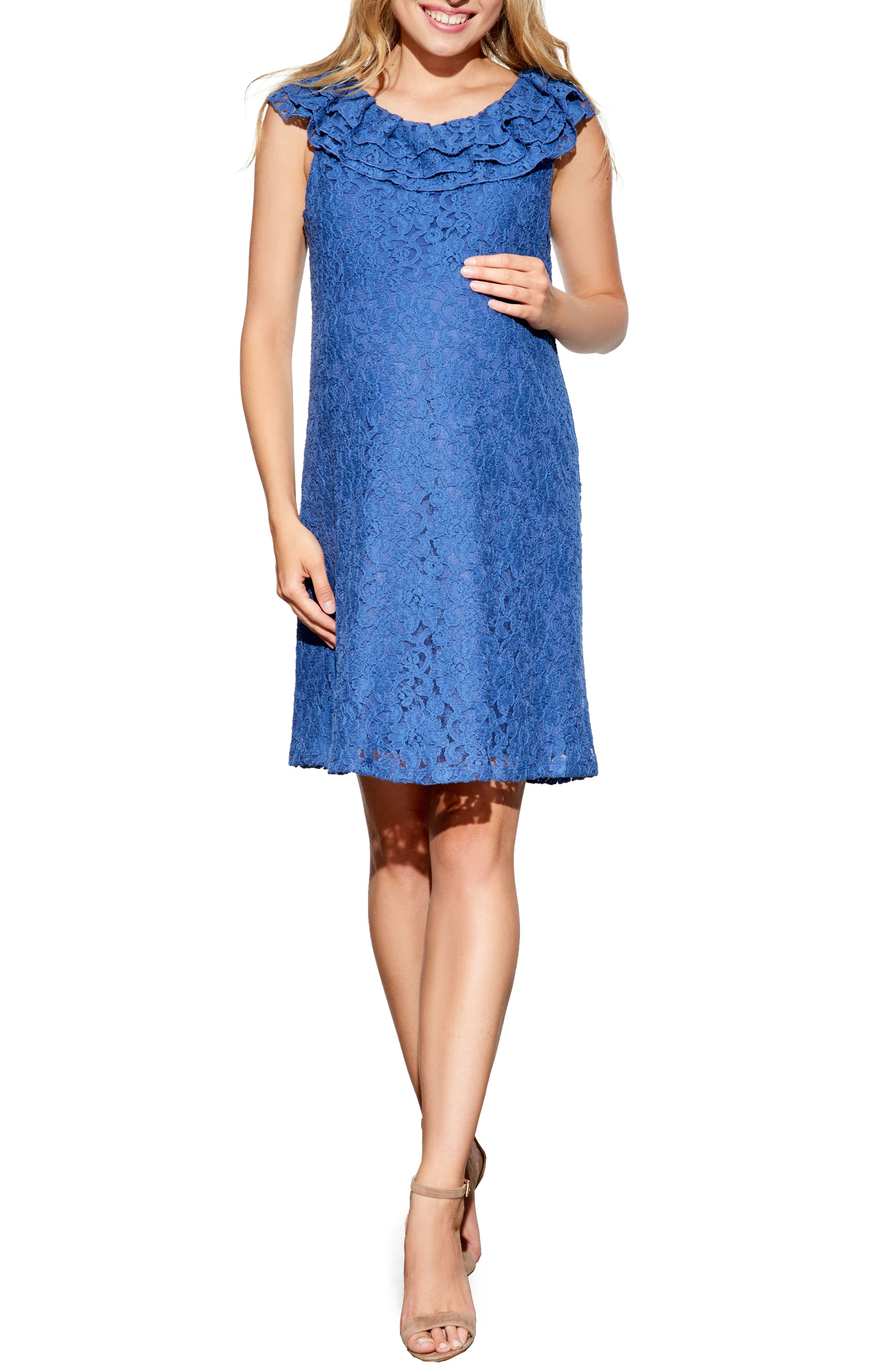 Maternal America Ruffled Maternity Dress, Blue
