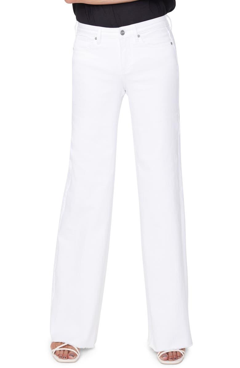 NYDJ Teresa High Waist Fray Hem Wide Leg Trouser Jeans, Main, color, OPTIC WHITE