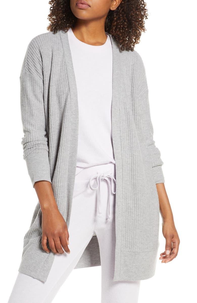 SOCIALITE Thermal Long Cardigan, Main, color, GREY