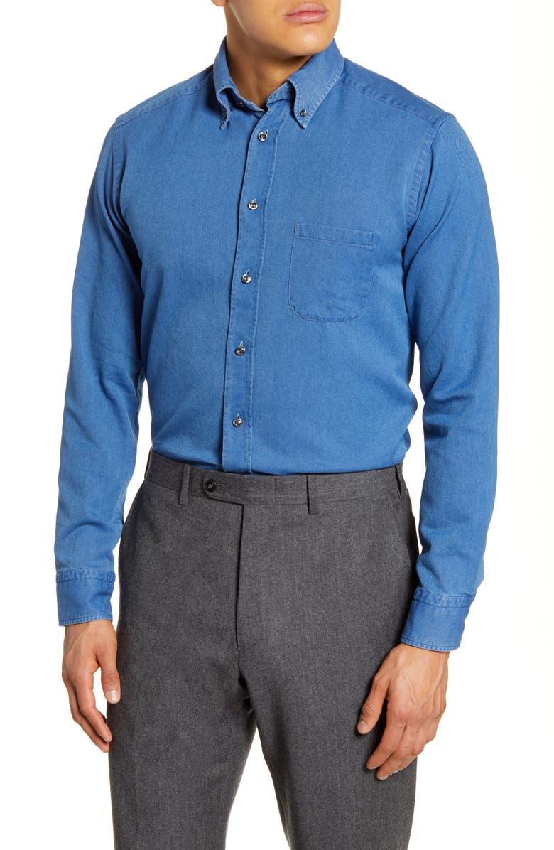 ETON Soft Collection Slim Fit Denim Dress Shirt, Main, color, BLUE