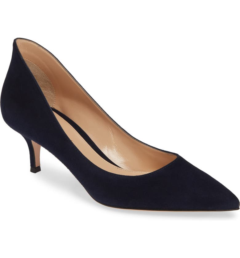 GIANVITO ROSSI Kitten Heel Pump, Main, color, DENIM BLUE SUEDE