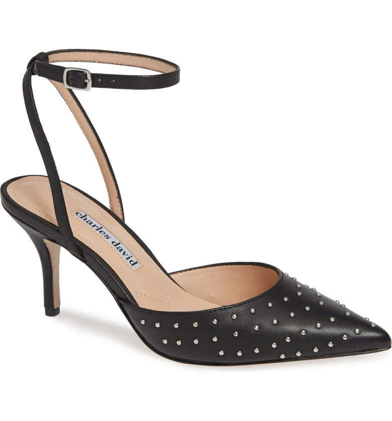 CHARLES DAVID Azalea Studded Pointy Toe Pump, Main, color, BLACK LEATHER