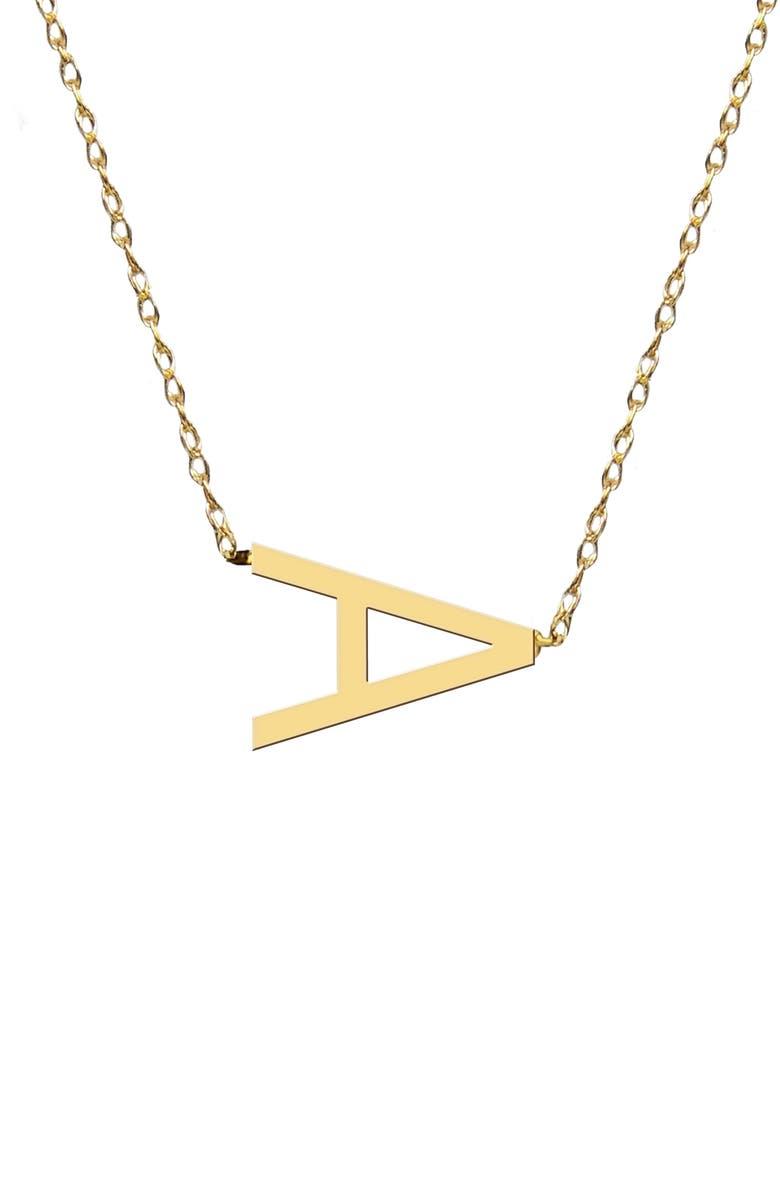 JANE BASCH DESIGNS Sideways Block Initial Pendant Necklace, Main, color, GOLD-A