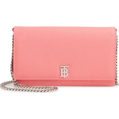 Burberry Hannah Leather Wallet On A Chain - Pink