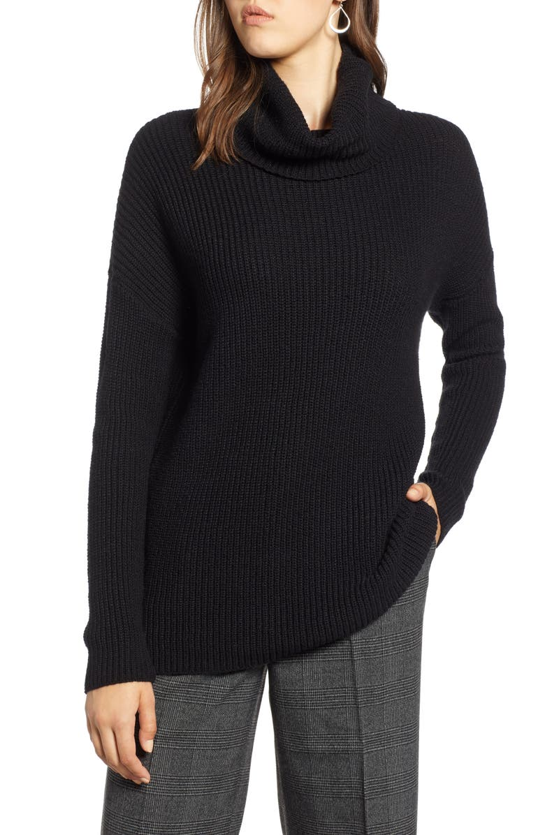 HALOGEN<SUP>®</SUP> Oversized Turtleneck Tunic Sweater, Main, color, BLACK