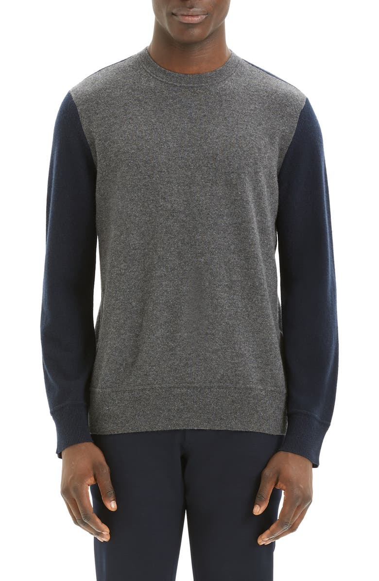 THEORY Hilles Standard Fit Crewneck Cashmere Sweater, Main, color, GREY HEATHER MULTI