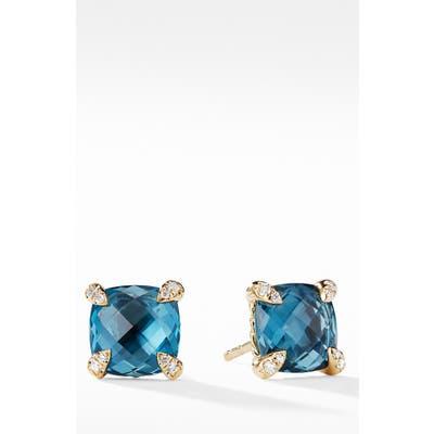 David Yurman Chatelaine 18K Gold Earrings With Blue Topaz
