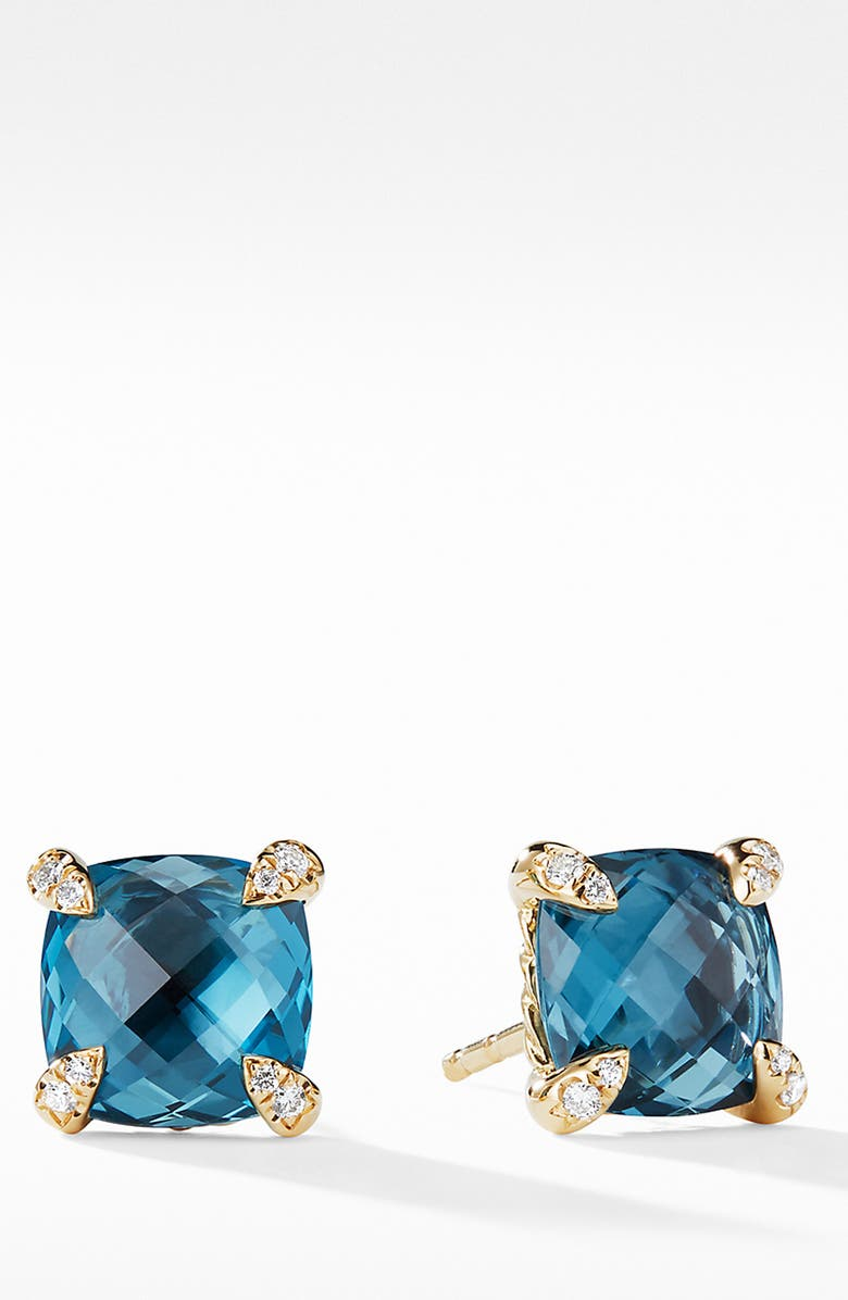 DAVID YURMAN Châtelaine<sup>®</sup> 18K Gold Earrings with Blue Topaz, Main, color, YELLOW GOLD/ BLUE TOPAZ
