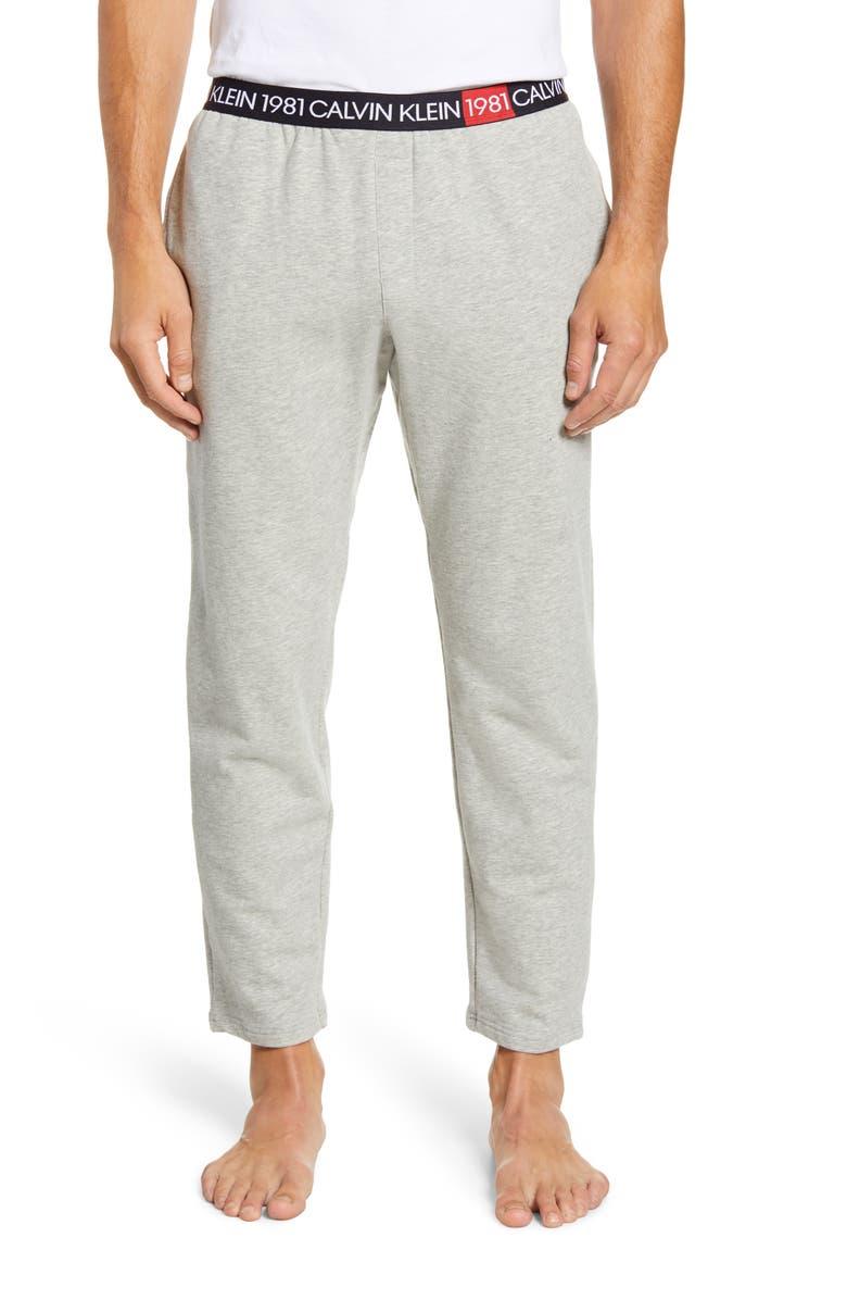 CALVIN KLEIN Cotton Pajama Pants, Main, color, GREY HEATHER