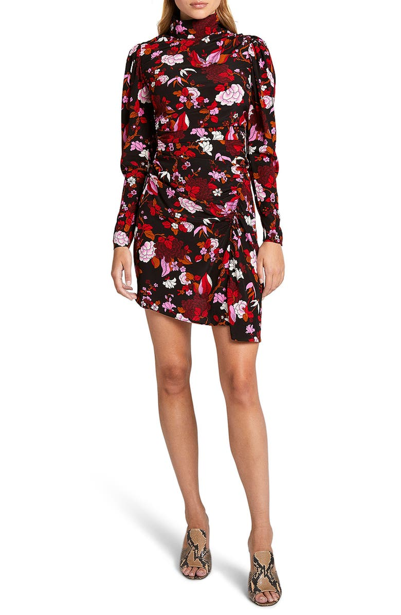 A.L.C. Marcel Long Sleeve Ruched Stretch Silk Minidress, Main, color, BLACK/ RED MULTI