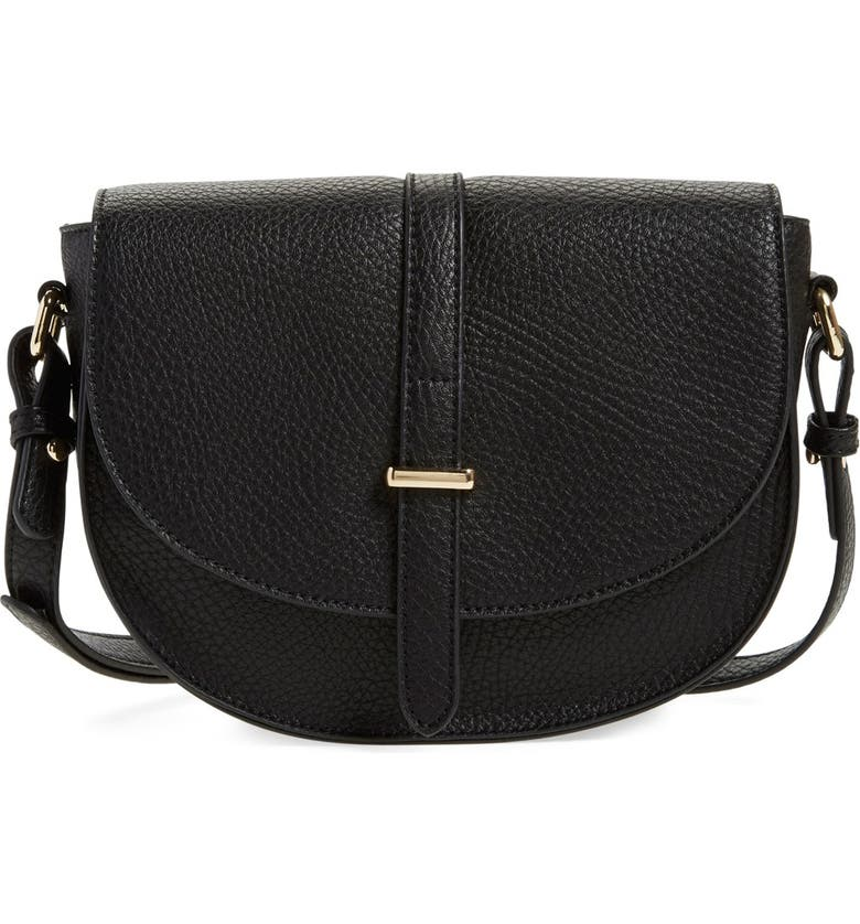 BP. Faux Leather Saddle Crossbody Bag, Main, color, 001