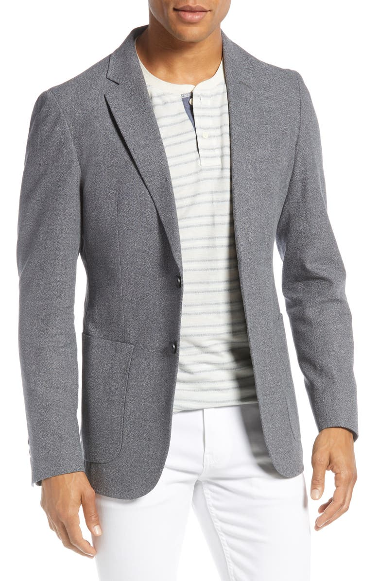 1901 Extra Slim Fit Mélange Cotton & Linen Sport Coat, Main, color, BLACK WHITE TEXTURE