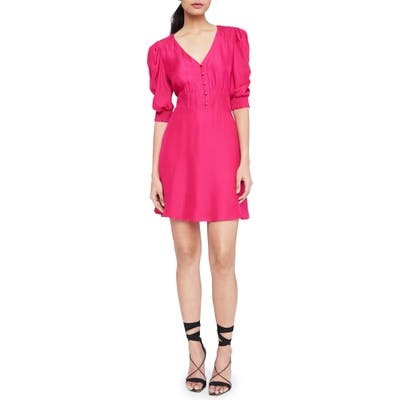 Parker Lottie Front Button Silk Blend Minidress, Pink
