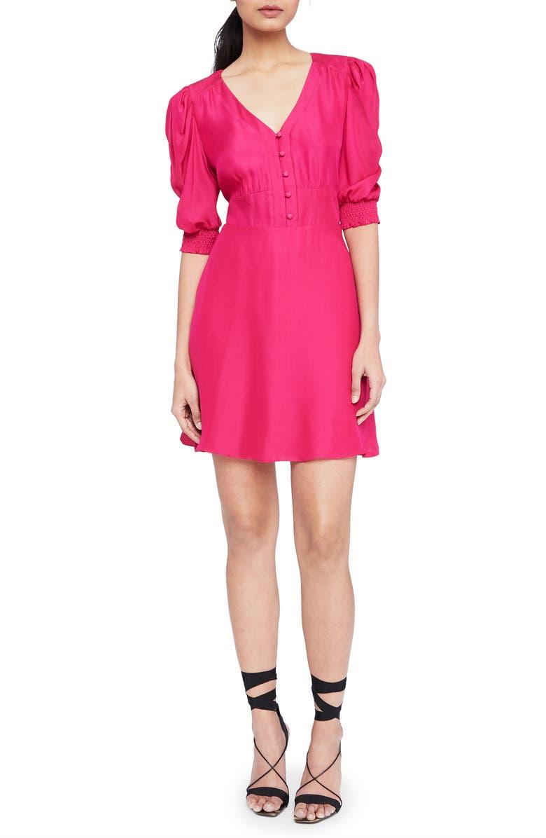 PARKER Lottie Front Button Silk Blend Minidress, Main, color, RAZZBERRY