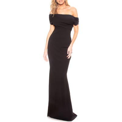 Katie May Hannah Off The Shoulder Crepe Trumpet Gown, Black