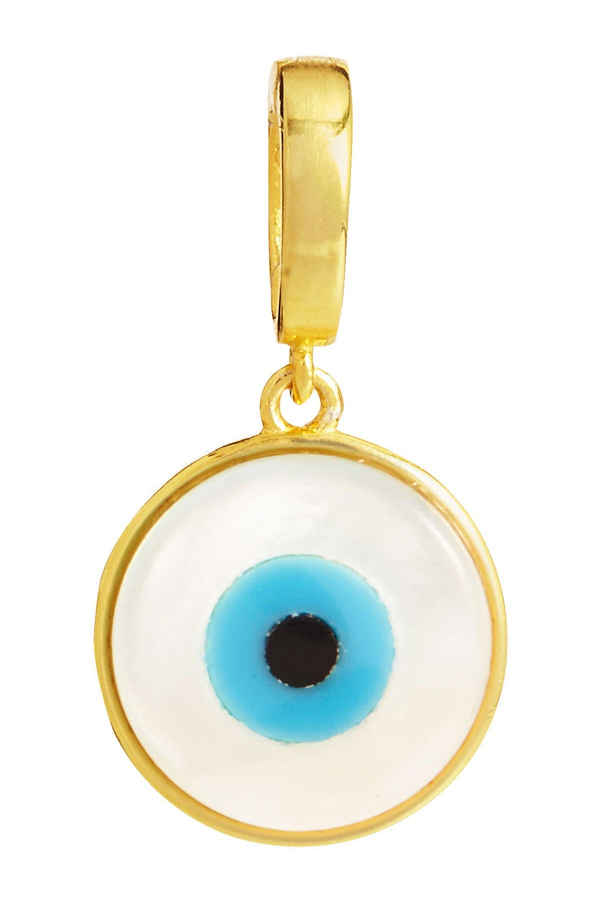 Image of Savvy Cie 18K Yellow Gold Vermeil Mother of Pearl Evil Eye Charm