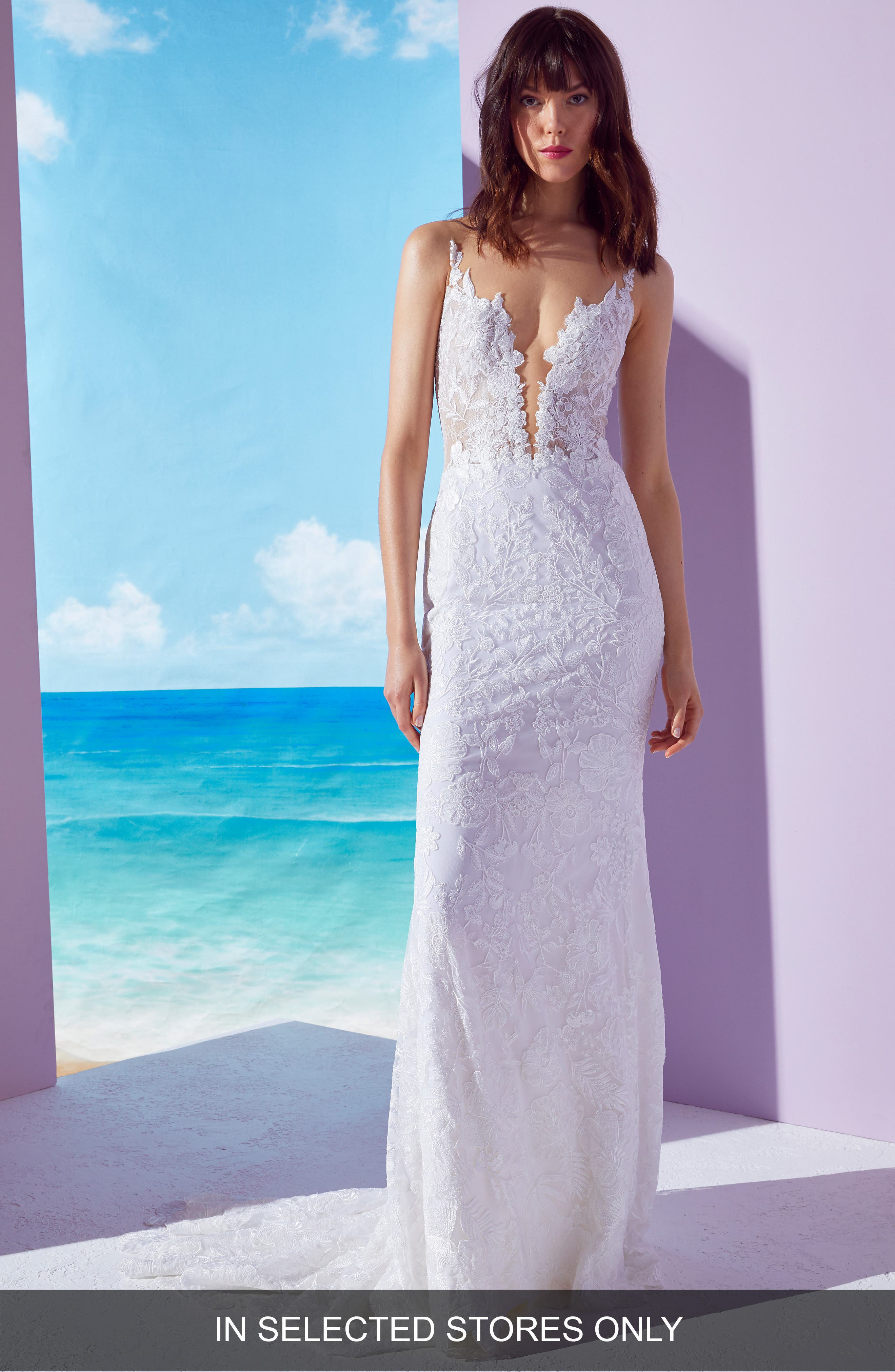 Ines By Ines Di Santo Kendall Embroidered Column Gown, Size - Ivory