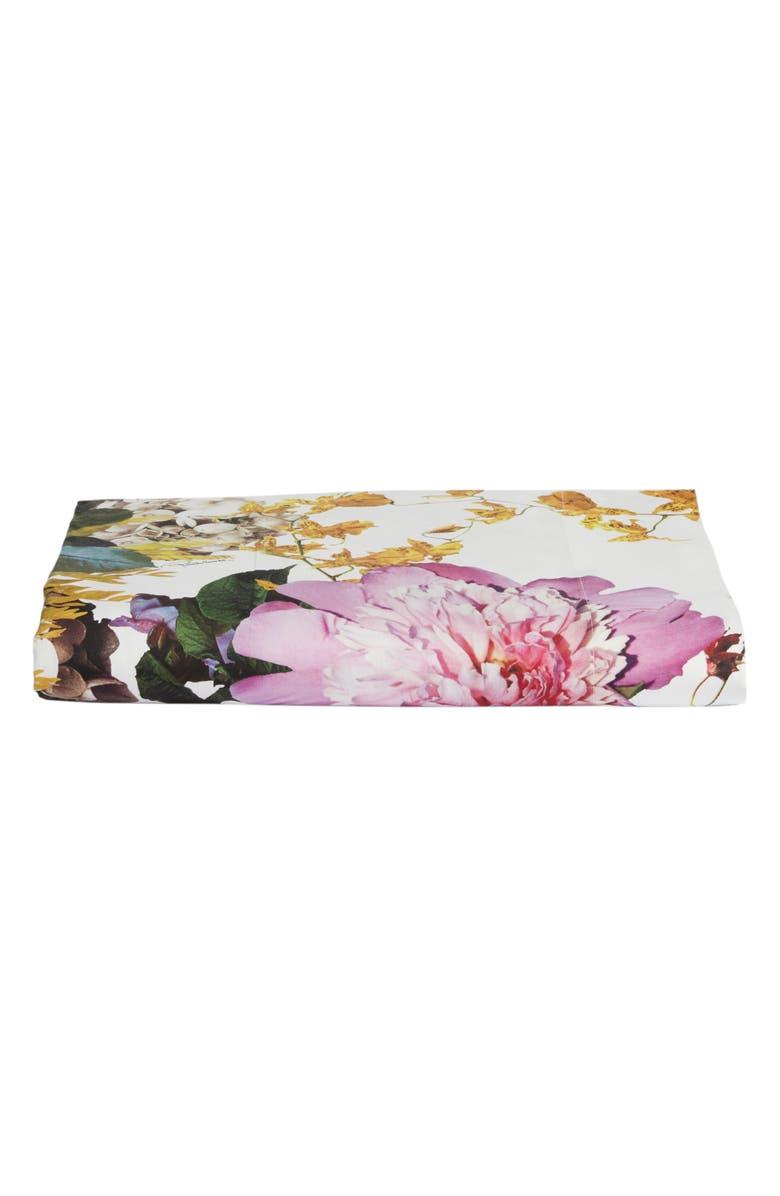 ROBERTO CAVALLI Floris 300 Thread Count Flat Sheet, Main, color, WHITE
