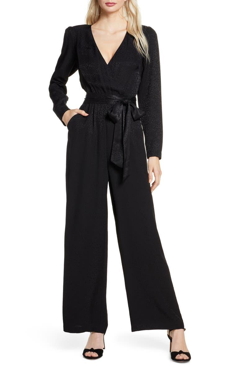 ALI & JAY Stay Golden Long Sleeve Leopard Jacquard Jumpsuit, Main, color, BLACK