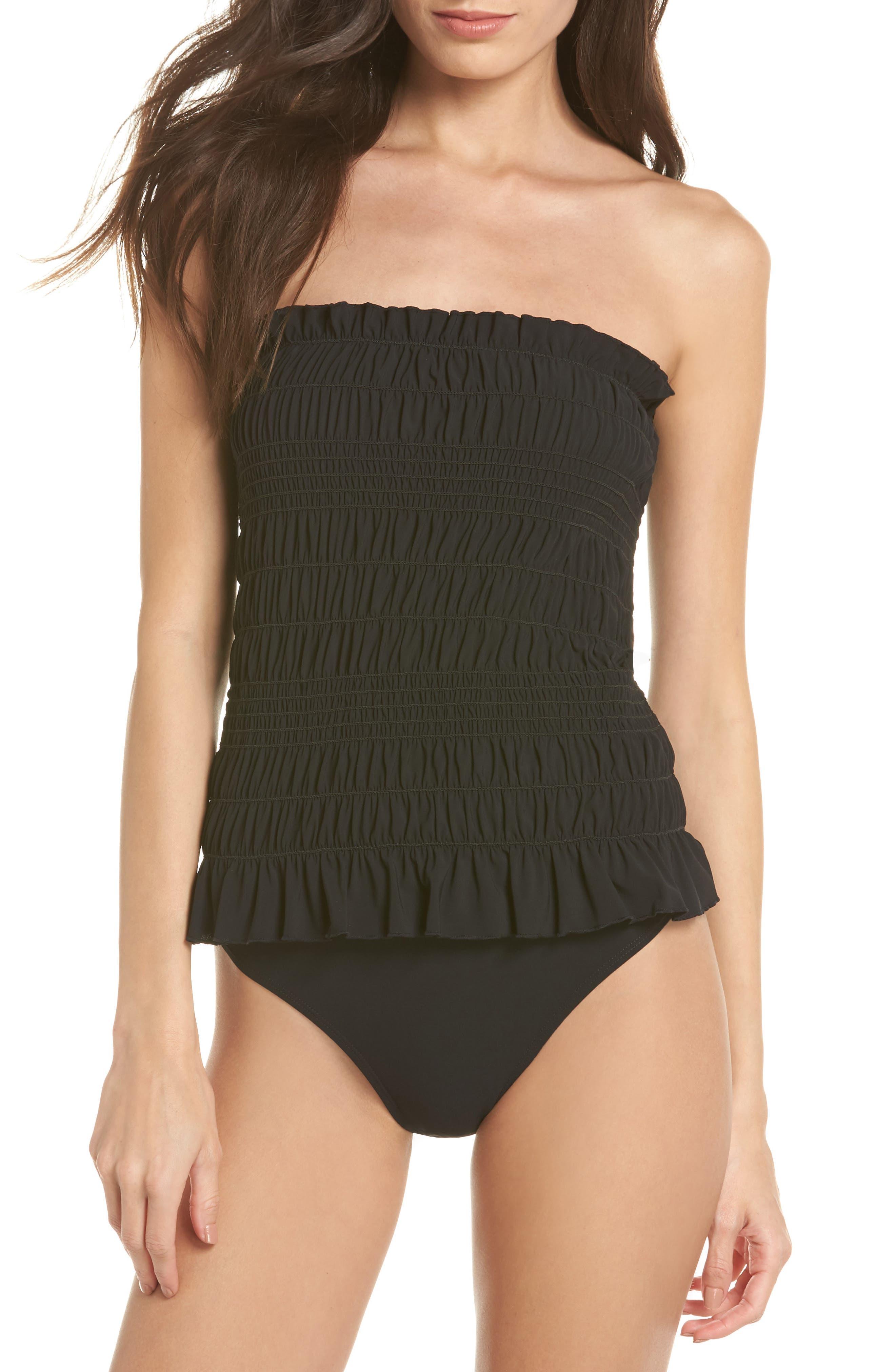 Tory Burch Costa Smocked One-Piece Swimsuit, Black