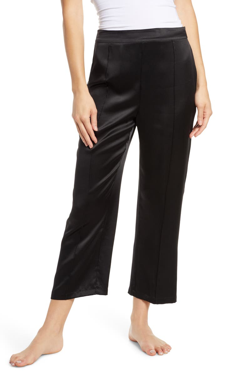 THISTLE & SPIRE Silk Lounge Pants, Main, color, BLACK