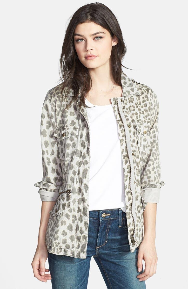 VELVET BY GRAHAM & SPENCER Lily Aldridge for Velvet by Graham & Spencer Leopard Print Army Jacket, Main, color, 250