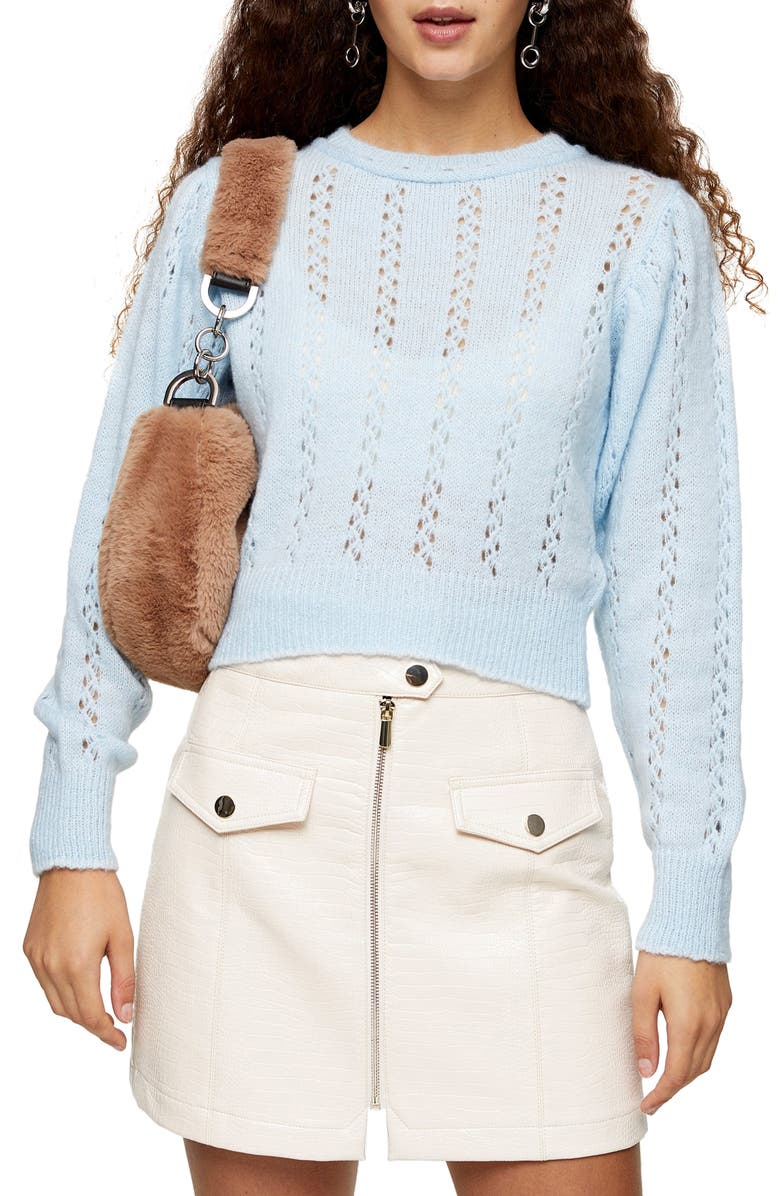 TOPSHOP Idol Pointelle Crop Sweater, Main, color, LIGHT BLUE