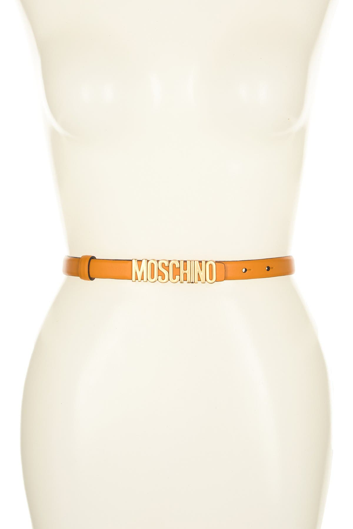 Image of MOSCHINO Leather Logo Buckle Belt
